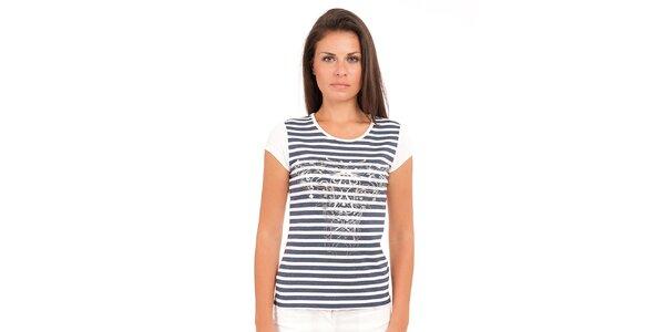 Dámské modro-bílé pruhované tričko Conquista se stříbrným potiskem