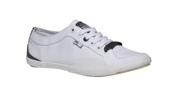 Dámské bílé tenisky s bílou podrážkou a černými detaily TBS