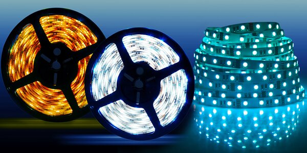 Barevné RGB LED pásky včetně adaptéru a ovladače