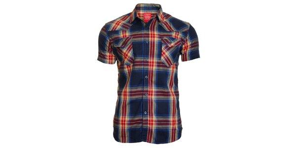 Pánská tmavě modrá kostkovaná košile Chaser