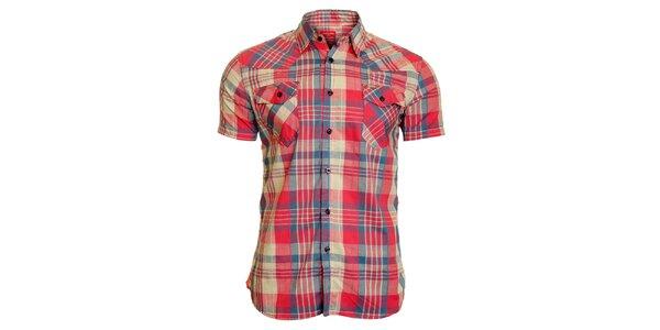 Pánská růžovo-modrá kostkovaná košile Chaser