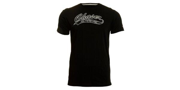 Pánské černé tričko Chaser s potiskem