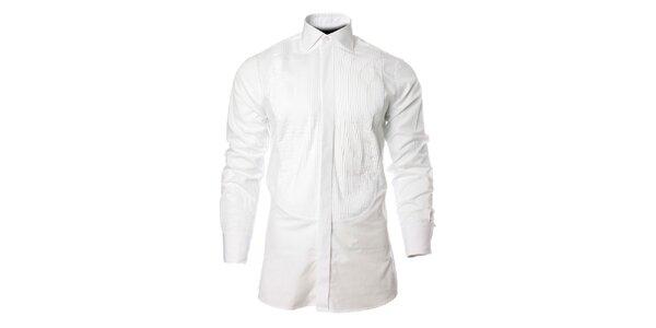 Pánská bílá košile s vyraženým proužkem Carmelo