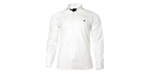 Pánská bílá košile s dlouhým rukávem a proužkem Caramelo