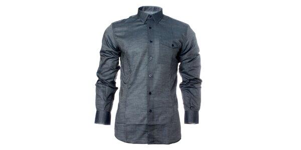 Pánská ocelově šedá košile s dlouhým rukávem Carmelo