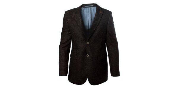 Pánské tmavé vlněné sako se záplatovanými lokty Caramelo