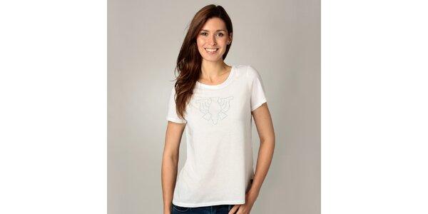 Dámské bílé triko s korálkovou aplikací Caramelo