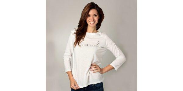 Dámské bílé triko s dlouhým rukávem Caramelo