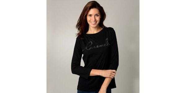 Dámské černé triko s dlouhým rukávem Caramelo