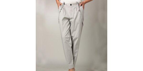 Dámské šedé kalhoty s kšandami Caramelo