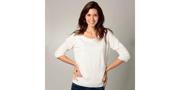 Dámské bílé triko s 3/4 rukávy Caramelo
