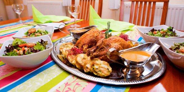 Lahodné francouzské kuřátko se vším všudy a dezert