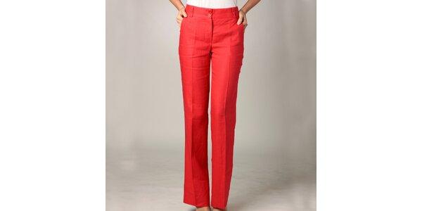 Dámské červené lněné kalhoty Caramelo