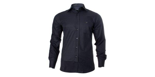 Pánská tmavá košile se světlým proužkem Caramelo