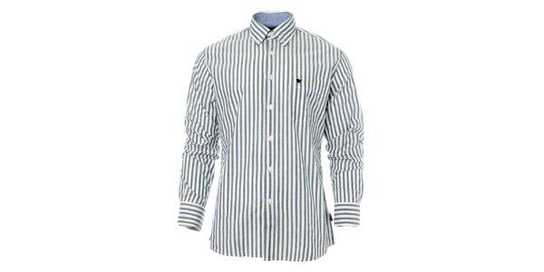 Pánská zeleno-modrá proužkovaná košile Caramelo