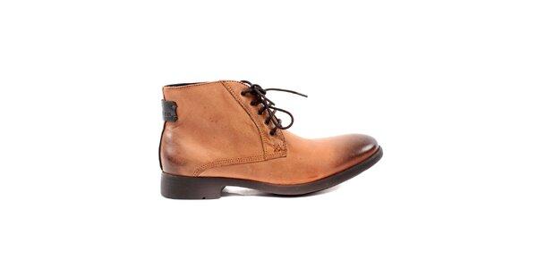 Pánské oříškově hnědé kožené boty Caramelo