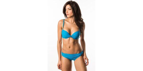 Dámské modré bikini s vyztuženými košíčky a korálkovou aplikací Lili & Zoe