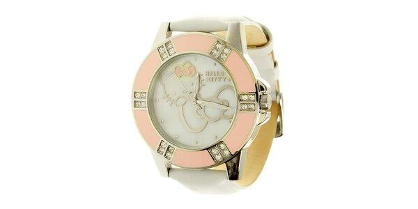 Dámské analogové bílo-růžové hodinky s koženým páskem Hello Kitty