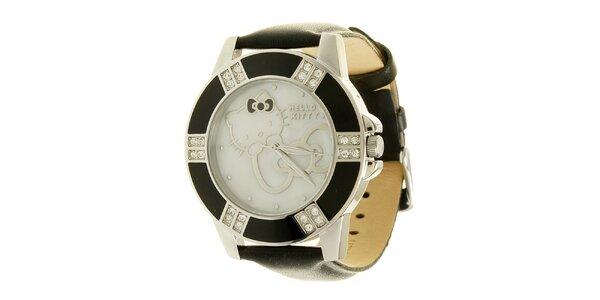 Dámské analogové černo-stříbrné hodinky s koženým páskem Hello Kitty