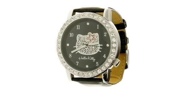 Dámské černé analogové hodinky se skleněnými krystaly Hello Kitty