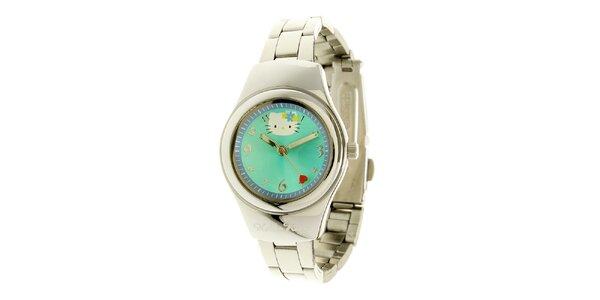 Dámské stříbrné hodinky se zeleno-modrým ciferníkem Hello Kitty