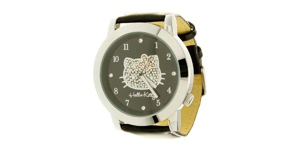Dívčí černo-stříbrné hodinky s krystaly Hello Kitty