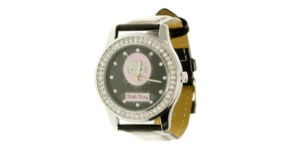 Dámské černo-stříbrné analogové hodinky se skleněnými krystaly Hello Kitty