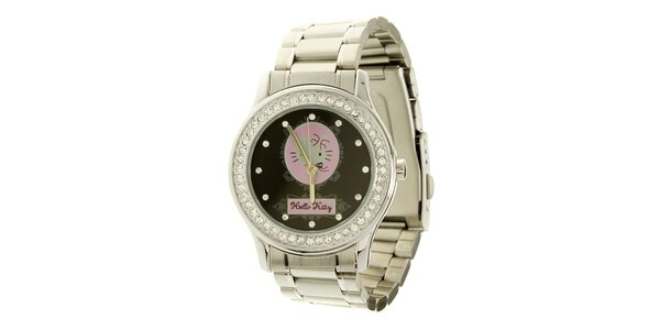 Dámské stříbrno-černé analogové hodinky se skleněnými krystaly Hello Kitty