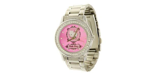 Dámské stříbrno-růžové analogové hodinky se skleněnými krystaly Hello Kitty