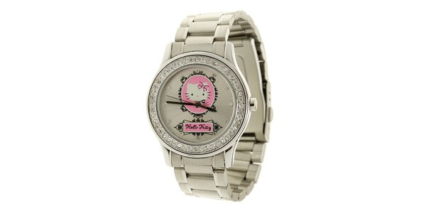Dámské stříbrné analogové hodinky se skleněnými krystaly a růžovými detaily…