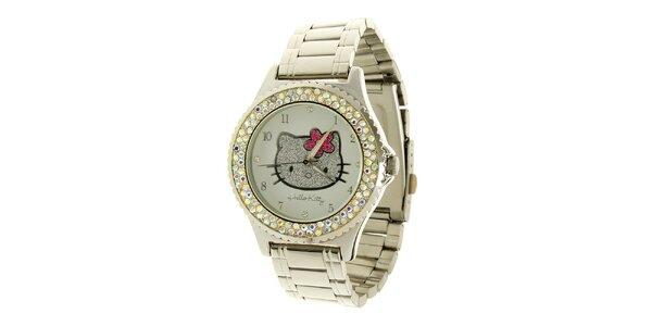 Dámské stříbrné analogové hodinky se skleněnými krystaly a světle modrým…