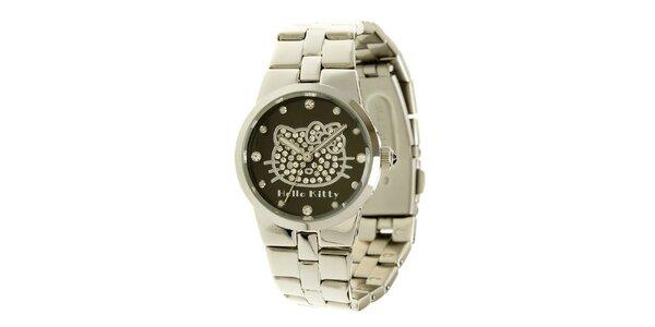 Dámské stříbrno-černé analogové ocelové hodinky se skleněnými krystaly Hello…