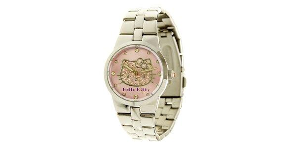 Dámské stříbrno-růžové analogové ocelové hodinky se skleněnými krystaly Hello…