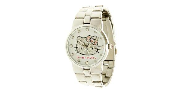 Stříbrné dívčí analogové ocelové hodinky se skleněnými krystaly a růžovými…