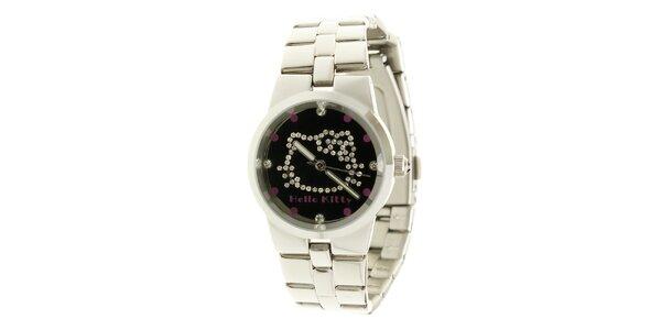 Stříbrné dívčí analogové ocelové hodinky se skleněnými krystaly a černým… 8186f95313
