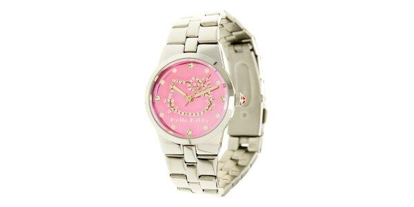 Stříbrno-růžové dívčí analogové ocelové hodinky se skleněnými krystaly Hello…