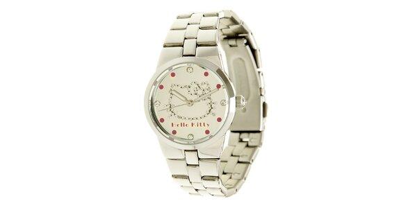 Stříbrné dívčí analogové ocelové hodinky se skleněnými krystaly Hello Kitty