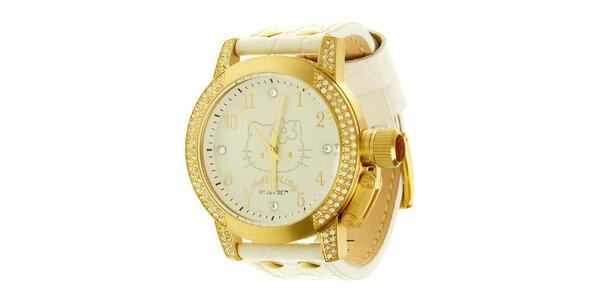 Dámské zlato-krémové náramkové hodinky se skleněnými krystaly Hello Kitty