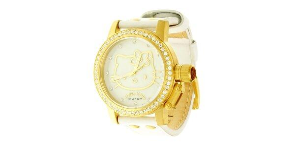 Dámské zlato-bílé náramkové hodinky se skleněnými krystaly Hello Kitty