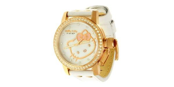 Dámské stříbrno-bílé náramkové hodinky se skleněnými krystaly Hello Kitty