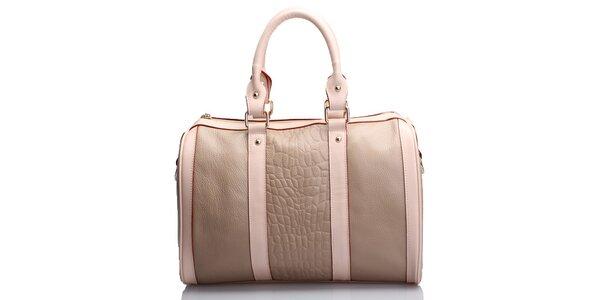 Dámská světle hnědá kabelka Belle & Bloom s růžovými proužky