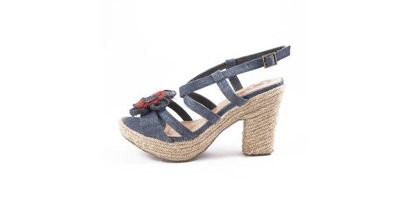Dámské tmavě modré denimové sandály Drastik s kytičkou