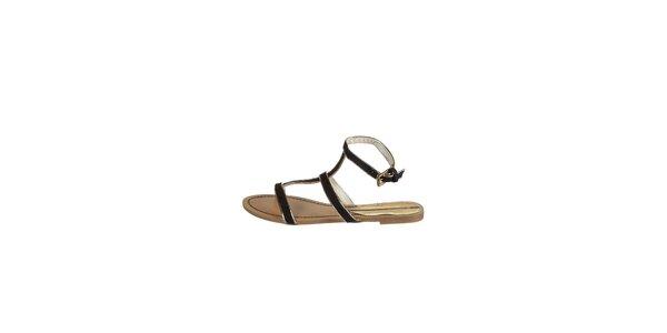 Dámské černé sandály Drastik se zlatým lemem