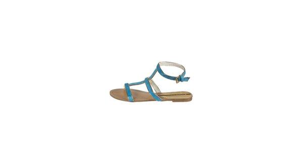 Dámské světle modré sandály Drastik se zlatým lemem