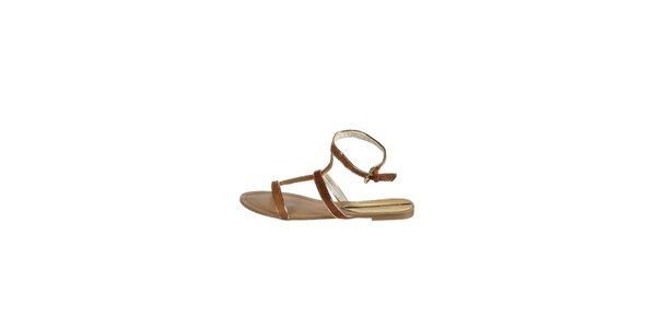 Dámské velbloudí sandály Drastik se zlatým lemem
