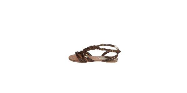 Dámské tmavě hěndé proplétané sandály Drastik