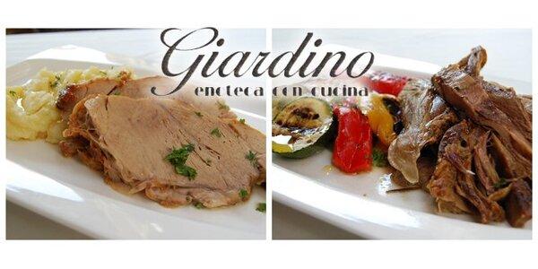 2× telecí či jehněčí maso s přílohou a vínem či pivem v italské restauraci!