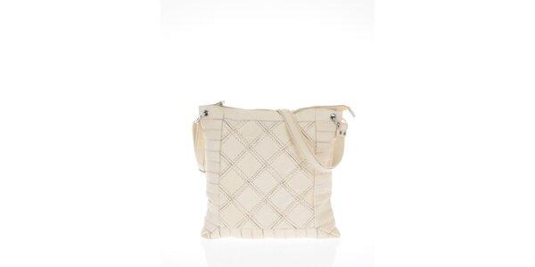 Dámská béžová kabelka s čtvercovým vzorem Marina Galanti