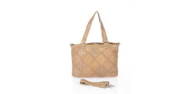 Dámská tmavě béžová kabelka s čtvercovým vzorem Marina Galanti