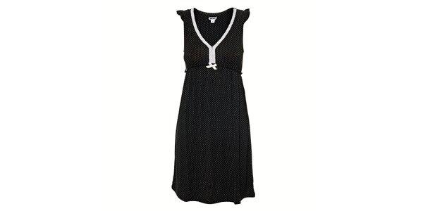Černá noční košilka s puntíky DKNY